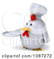 3d Chubby Chef Chicken Holding A Plate 2
