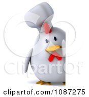 3d Chubby Chef Chicken With A Sign 2