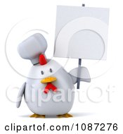 Clipart 3d Chubby Chef Chicken With A Sign 3 Royalty Free CGI Illustration