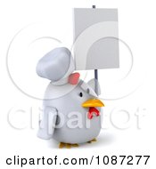Clipart 3d Chubby Chef Chicken With A Sign 4 Royalty Free CGI Illustration