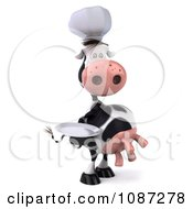 Clipart 3d Chef Cow Holding A Plate 1 Royalty Free CGI Illustration