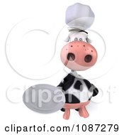 Clipart 3d Chef Cow Holding A Plate 2 Royalty Free CGI Illustration