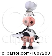 Clipart 3d Chef Cow Holding A Plate 3 Royalty Free CGI Illustration