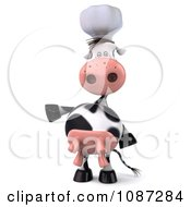 Clipart 3d Chef Cow Presenting 1 Royalty Free CGI Illustration