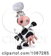 Clipart 3d Chef Cow Presenting 2 Royalty Free CGI Illustration