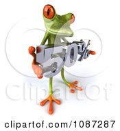 Clipart 3d Slanted Green Springer Frog Holding A 50 Percent Discount Royalty Free CGI Illustration