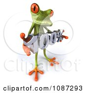 Clipart 3d Slanted Green Springer Frog Holding A 100 Percent Discount Royalty Free CGI Illustration