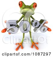 Clipart 3d Green Springer Frog Holding A 50 Percent Discount Royalty Free CGI Illustration