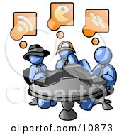Three Blue Men Using Laptops In An Internet Cafe Clipart Illustration
