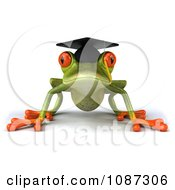 Clipart 3d Green Springer Frog Graduate Crouching 1 Royalty Free CGI Illustration