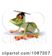 Clipart 3d Green Springer Frog Graduate Crouching 2 Royalty Free CGI Illustration