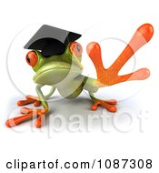 Clipart 3d Green Springer Frog Graduate Reaching 1 Royalty Free CGI Illustration