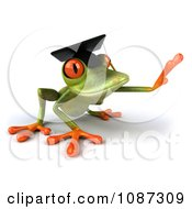 Clipart 3d Green Springer Frog Graduate Reaching 2 Royalty Free CGI Illustration