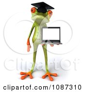 Clipart 3d Green Springer Frog Graduate Holding A Laptop 1 Royalty Free CGI Illustration