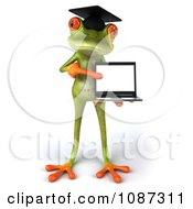 Clipart 3d Green Springer Frog Graduate Holding A Laptop 2 Royalty Free CGI Illustration