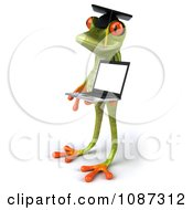 Clipart 3d Green Springer Frog Graduate Holding A Laptop 3 Royalty Free CGI Illustration