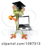 Clipart 3d Green Springer Frog Graduate Holding A Laptop 4 Royalty Free CGI Illustration