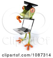 Clipart 3d Green Springer Frog Graduate Holding A Laptop 5 Royalty Free CGI Illustration