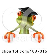 Clipart 3d Green Springer Frog Graduate Holding A Sign Royalty Free CGI Illustration