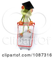 Clipart 3d Green Springer Frog Graduate Shopping 1 Royalty Free CGI Illustration