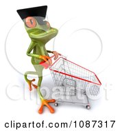 Clipart 3d Green Springer Frog Graduate Shopping 2 Royalty Free CGI Illustration