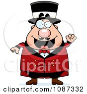 Clipart Friendly Chubby Circus Ring Master Waving Royalty Free Vector Illustration by Cory Thoman
