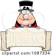 Clipart Chubby Circus Ring Master Holding A Banner Royalty Free Vector Illustration