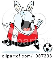 Chubby White Rabbit Playing Soccer