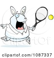 Clipart Chubby White Rabbit Playing Tennis Royalty Free Vector Illustration by Cory Thoman