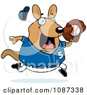 Clipart Chubby Wallaby Kangaroo Playing Baseball Royalty Free Vector Illustration by Cory Thoman