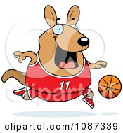 Clipart Chubby Wallaby Kangaroo Playing Basketball Royalty Free Vector Illustration by Cory Thoman