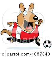 Clipart Chubby Wallaby Kangaroo Playing Soccer Royalty Free Vector Illustration