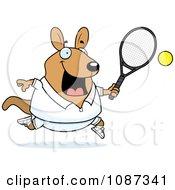 Clipart Chubby Wallaby Kangaroo Playing Tennis Royalty Free Vector Illustration by Cory Thoman