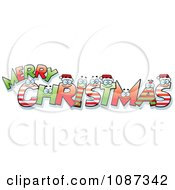 Clipart Happy Festive Letter Spelling Merry Christmas Royalty Free Vector Illustration