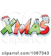 Clipart Happy Festive Letter Spelling XMAS Royalty Free Vector Illustration by Cory Thoman