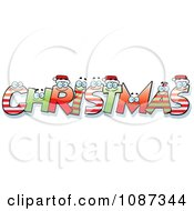 Clipart Happy Festive Letter Spelling Christmas Royalty Free Vector Illustration