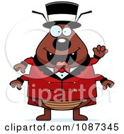 Clipart Circus Ring Master Flea Waving Royalty Free Vector Illustration