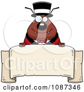 Clipart Circus Ring Master Flea Holding A Banner Royalty Free Vector Illustration