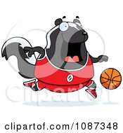 Clipart Chubby Skunk Playing Basketball Royalty Free Vector Illustration by Cory Thoman