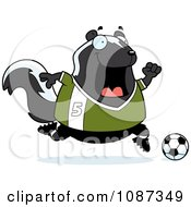Clipart Chubby Skunk Playing Soccer Royalty Free Vector Illustration