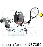 Chubby Skunk Playing Tennis