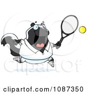 Clipart Chubby Skunk Playing Tennis Royalty Free Vector Illustration