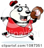 Clipart Chubby Panda Playing Baseball Royalty Free Vector Illustration