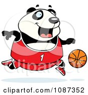 Clipart Chubby Panda Playing Basketball Royalty Free Vector Illustration