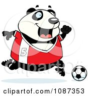 Clipart Chubby Panda Playing Soccer Royalty Free Vector Illustration
