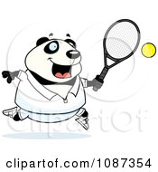 Clipart Chubby Panda Playing Tennis Royalty Free Vector Illustration