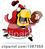 Clipart Chubby Cardinal Playing Baseball Royalty Free Vector Illustration