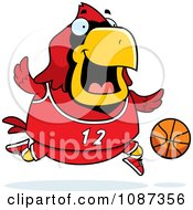 Clipart Chubby Cardinal Playing Basketball Royalty Free Vector Illustration