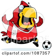 Clipart Chubby Cardinal Playing Soccer Royalty Free Vector Illustration