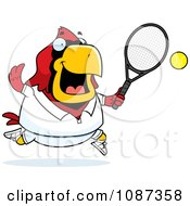 Clipart Chubby Cardinal Playing Tennis Royalty Free Vector Illustration